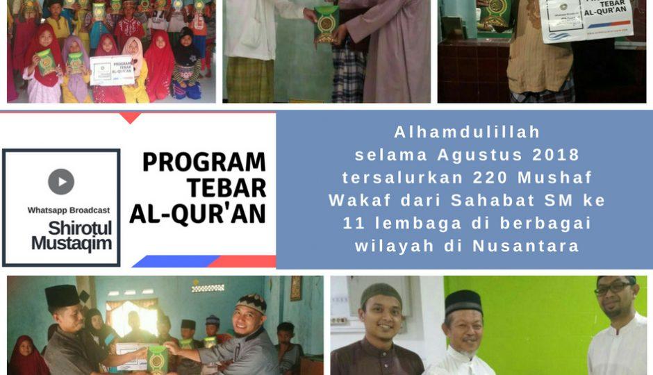 Penyaluran Mushaf Al-Qur'an Wakaf Sahabat SM bulan Agustus 2018